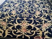 Китайский шерстяной ковер «Поле-цветы» синий