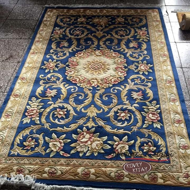 Китайский шерстяной ковер «Цветы» светло-синий