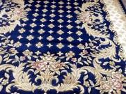 Китайский шерстяной ковер «Крестики» синий