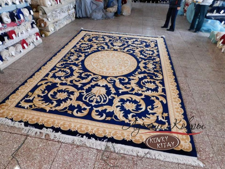 Китайский шерстяной ковер «Корона» синий