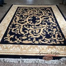 Китайский шерстяной ковер «Лепесток» черный