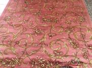Китайский шерстяной ковер «Поле-цветы» розовый